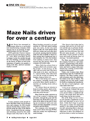Building Products Digest, 2015 - Maze Nails are the #1 Nails Recommended for Post Frame Building!